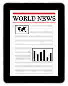 Black Business Tablet Showing World News — Stock Vector