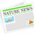 Nature News Newspaper Headline — Stock Vector