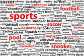 Sports Categories Word Cloud — Stock Vector