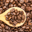 Wooden Spoon With Coffee Beans — Stock Photo