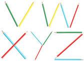 Coloring Pencils Alphabet Letters Set V-Z — Stock Photo