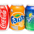 Stock Photo: Coca-Cola, Fantand Sprite Cans Isolated