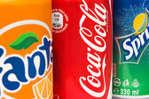 Coca-Cola, Fanta and Sprite Cans — Stock Photo