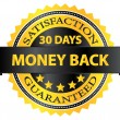 30 Days Money Back Guaranteed Badge — ストックベクタ