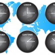 Time Zones Around The World — Stock Vector