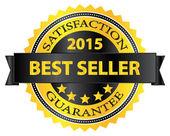 Beste verkoper vijf sterren gouden badge award 2015 — Stockvector