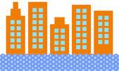 City Skyline On White — Stock Vector