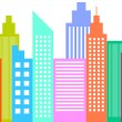 Stock Vector: Modern City Skyline Skyscrapers