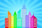 Toits de la ville avec fond de rayons de soleil bleu — Vecteur