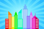 City Skyline With Blue Sun Rays Background — Stock Vector