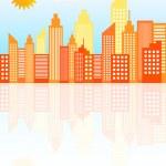 Modern City Skyscrapers Skyline On Sunny Day — Stock Vector #38804237