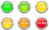 Television Parental Guidelines Buttons — Stock Vector