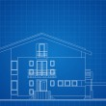 Modern American House Facade Architectural Blueprint — Stock Vector #39432537