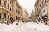 First Snow Over Downtown Bucharest — Foto Stock