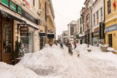 First Snow Over Downtown Bucharest — Stock Photo