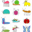 Stock Photo: Funny Colored Insects Bugs Set