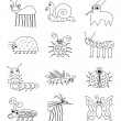 Funny Insect Bugs Doodle Set — Stock Vector #40421077