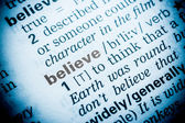 Believe Word Definition In Dictionary — Stock Photo
