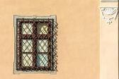 κοινή μεσαιωνική σπίτι παράθυρο — Foto Stock