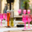 Foto de Stock  : Pink Empty Glasses In Restaurant