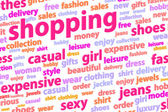 Shopping Word Cloud Concept — 图库照片