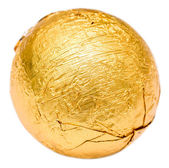 Golden Wrapped Candy Isolated — Stock Photo