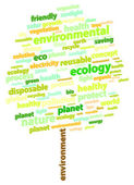 3D Tree Abstract Ecology Word Cloud — Stock Vector