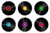 Vintage Vinyl Records Set Isolated On White — Stock Vector