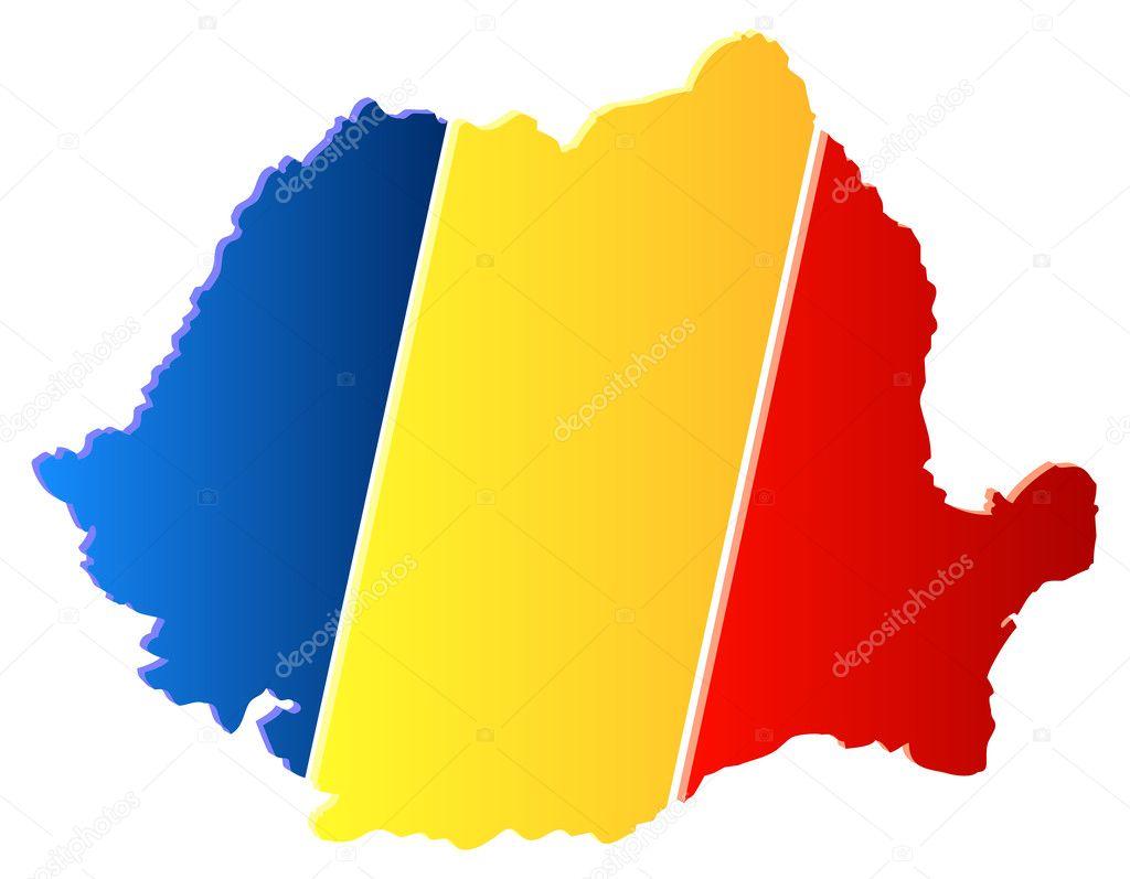 带有标志的 3d 罗马尼亚地图矢量图– 图库插图