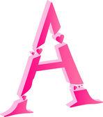 3D Alphabet Love Letter A — Stock Vector