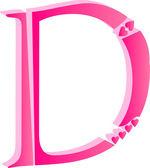 3D Alphabet Love Letter D — Stock Vector