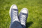 All Star Converse Sneakers On Green Grass — Stock Photo