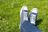 Retro Sneakers On Grass — Stock Photo