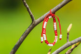 Red And White Martisor Decoration Hanging On A Tree — Stock Photo