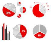 Pie Charts And Bar Graphic Statistics — Vector de stock