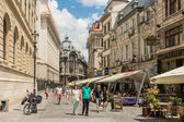 Tourists Visiting Downtown Bucharest — Stock Photo