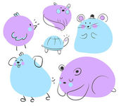 Blue and Purple Animal Doodles — Stock Vector