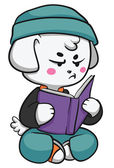 Grinig hund läsa en bok — Stockvektor