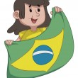Girl Holding BraziliFlag — Vecteur #41206431