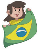 Girl Holding a Brazilian Flag — Stock Vector
