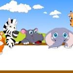 Animal Cartoon With Blank Sign — Stock Vector