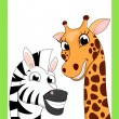 Zoo Animal Cartoon On Frame — Image vectorielle