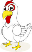 Happy White Chicken — Stockvector