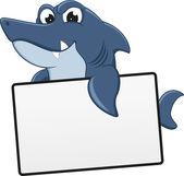 Funny Shark Cartoon With Blank Sign — Stock Vector