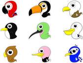 Cartoon-vögel-icon-set — Stockvektor