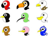 Tecknade fåglar ikonuppsättning — Stockvektor