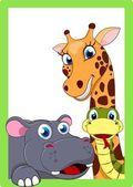 Zoo Animal Cartoon On Frame — Stock Vector
