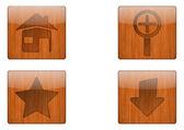 Wooden button icon — Stock Vector