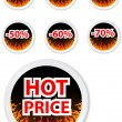 Hot price stickers. with fire flame  — Stock Vector
