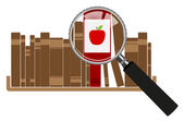 Red books with magnifying glasses — Stockvector